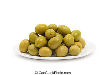 Plate with wet green olives isolated