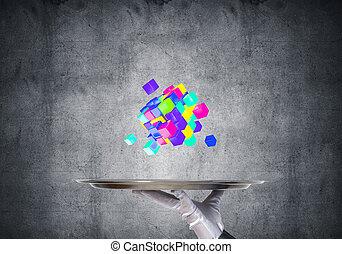 plateau., cubes, présentation, serveuse, main