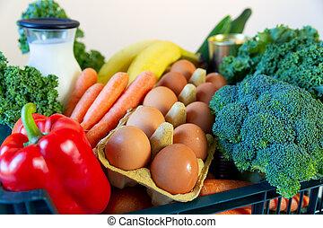 plateau, nourriture, box., légumes, service, frais, sain, livraison, vert, supermarché, épicerie