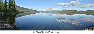 plateau., panorama., lac, putorana