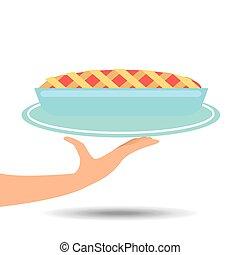 plateau, tarte, tenant main