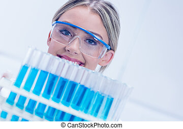 plateau, tubes, tenue, étudiant, essai, science