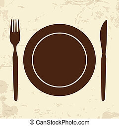 Plate,fork and knife on retro background - Plate,fork and...