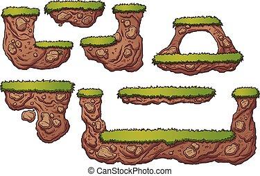 plateformes, herbe, terre