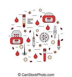 platelet-rich, plasma, affisch, stil, linjär, medicinsk ...
