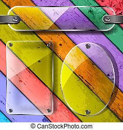platen, doorzichtigheid, kleurrijke