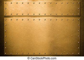 platen, metaal, achtergrond, goud, klinknagelen