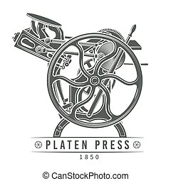 Platen press vector illustration. Old letterpress logo design. Vintage printing machine.