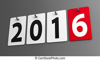 Plates 2016 on gray wall, represents the new year 2016,...