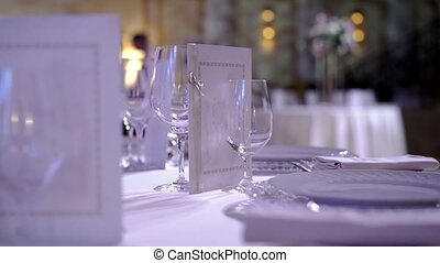 Plates and glasses in restaurant at the event party