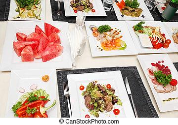 plates;, peixe, variedade, legumes, lanches, branca, quadrado, gelado, carne