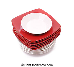 Plates. Red and white