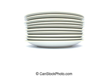 Plates - Stack of plates isolated on white background.