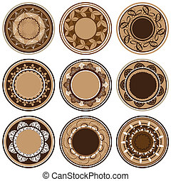 Plates with different vegetation patterns, circle ornament, vector illustration