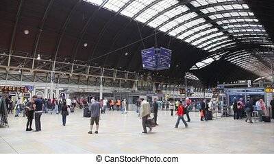 Platform of Charing Cross station with people in London, UK....