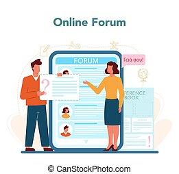 platform., translator, o, traduzione, servizio, linea