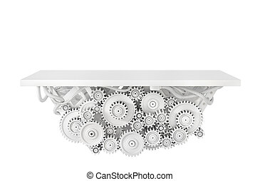 Platform with gears isolated on a white. 3d illustration