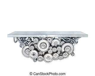 Platform with metal gears isolated on a white. 3d illustration
