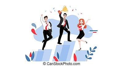 platforms., s, collaboration, plat, dessin animé, linéaire, créativité, contour, poses, illustration, étudiants, tasse, réussi, différent, concept., groupe, brain-storming, professionnels, ou, vecteur, gagnant, heureux
