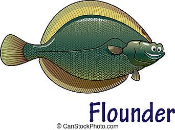 Platija, pez, carácter, caricatura