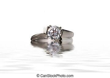 platina, diamante, ouro, obrigação, casório, anel branco
