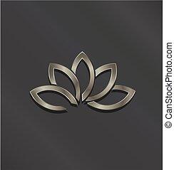 platina, flor, loto, vetorial, logo., ícone