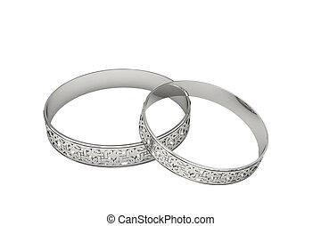 platina, magi, ringer, tracery, bröllop, eller, silver