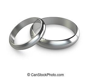 platine, anneaux, deux, mariage