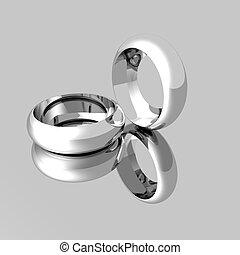 platine, anneaux, reflété, surface, mariage