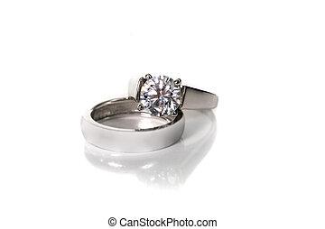 platine, blanc, or, diamant, mariage, bague fiançailles