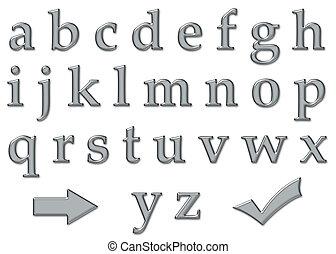 platine, chrome, plastique, alphabet