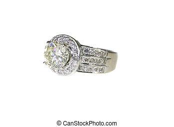platine, diamant, or, engagement, bande, mariage, anneau blanc
