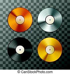 platine, ensemble, album, disques, doré, bronze, vinyle