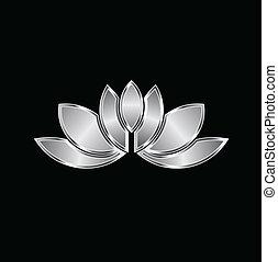 platine, lotus, plante, image, logo