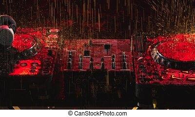 platine, pont, rayons, automne, light., console, studio., instrument, professionnel, gouttes pluie, haut., motion., rouges, fin, lent, sombre