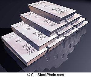 platino, barras, pila