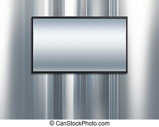 platino, de par en par, pantalla de tv, metal, plano de ...