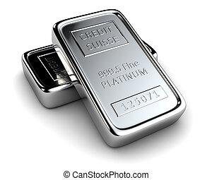 platino, dos, lingotes