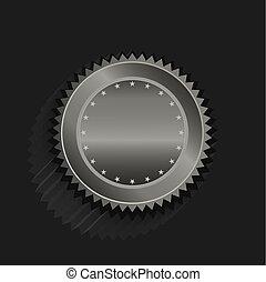 platino, fondo., vettore, nero, stelle, sigillo, disegno