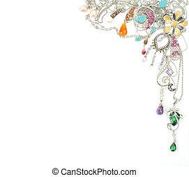 platino, joyas, con, gemas