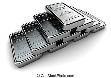 platino, pirámide, lingotes