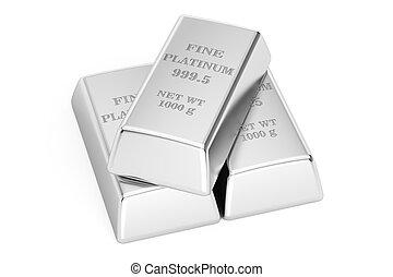 Platinum ingots. Stack of platinum ingots. macro, shallow ...