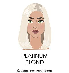 Platinum blond hair illustration.