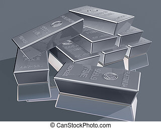 Platinum bullion - Illustration of platinum reserves piled...