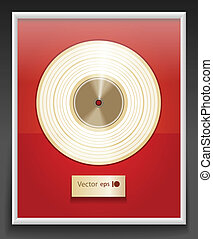 Platinum CD prize with label in frame on wall
