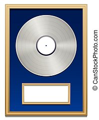 Platinum certification with blank plaque that can be labeled, in a golden frame on blue ground. Isolated vector illustration over white background.
