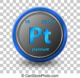 Platinum chemical element. Chemical symbol with atomic number and atomic mass.