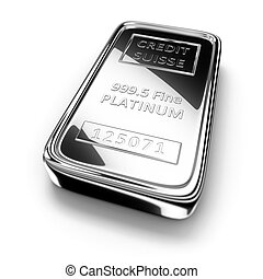 Platinum ingot - Single platinum ingot on white background