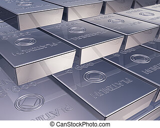 Platinum ingots - Illustration of platinum reserves piled...