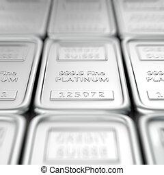Stack of platinum ingots. Macro, shallow depth of field